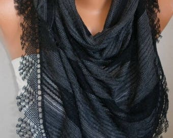 Black Cotton Scarf, Necklace, Cowl with  Lace Edge,Birthday gift,gift for her mom,women scarves,teacher gift
