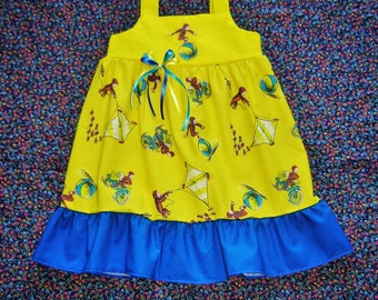 Toddler Girls Curious George Dress 18m, 2T, 3T, 4T, 5, 6, 7 Boutique Girls Monkey top skirt