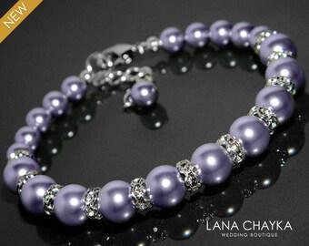 Lavender Pearl Bracelet Light Violet Pearl Bracelet Swarovski Lavender Pearl Silver Wedding Bracelet Wedding Pearl Jewelry