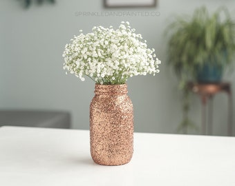 Copper Glitter Vase, Copper Decor, Copper Centerpieces, Copper Decor, Copper Vases, Copper Wedding, Steampunk Decor