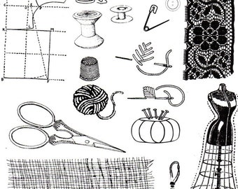 Sewing Notions - Non Adhesive unmounted rubber stamps for card making and scrapbooking
