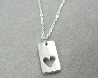 True Love's Heart sterling silver love charm necklace Valentine jewelry