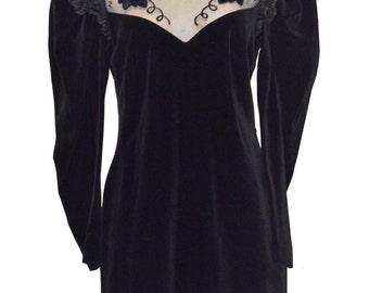 Vintage Estate Sandra Pabst Black Velvet Velour Sheer Panel Dress