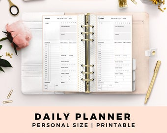 Personal Size Printable Planner Inserts, Daily Planner, Blush and Gold Productive Planner Pages