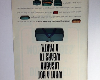 Pyrex Ad Portables System Ad - Hot Lasagna Wears and Deep Woods OFF Ad, Funny Advertisement, Humorous Ad, Vintage Advertisement - Pyrex