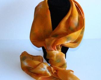 Silk Scarf, chiffon, hand dyed, orange/yellow, 15x60 inches