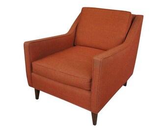 Milo Baughman Style Armchair in Rust Wool