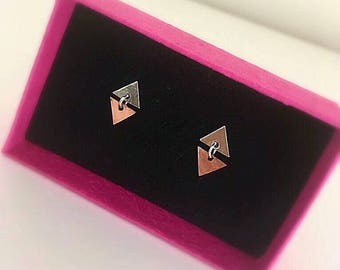 Sterling Silver and Copper Triangle Stud earrings-Geometric Studs- Pyramid Studs-Silver and Copper earrings- Chandelier earrings