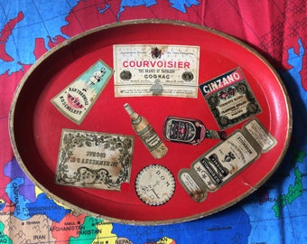 Red Platter with Alcohol Labels