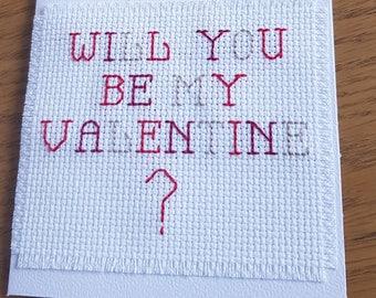 Valentine's day card - cross stitch card - love card - asking card - will you be - boyfriend card - girlfriend card - wife card - husband
