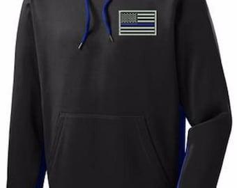 Thin Blue Line Flag Sport-Tek® Sport-Wick® Fleece Color Block Hooded Pullover SKU: SW210