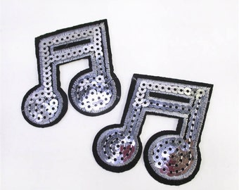 1 Piece - Music Note Silver Embroidery Patch with Sequins iron on with glue - Approx. 2 inches for Hair bow Center