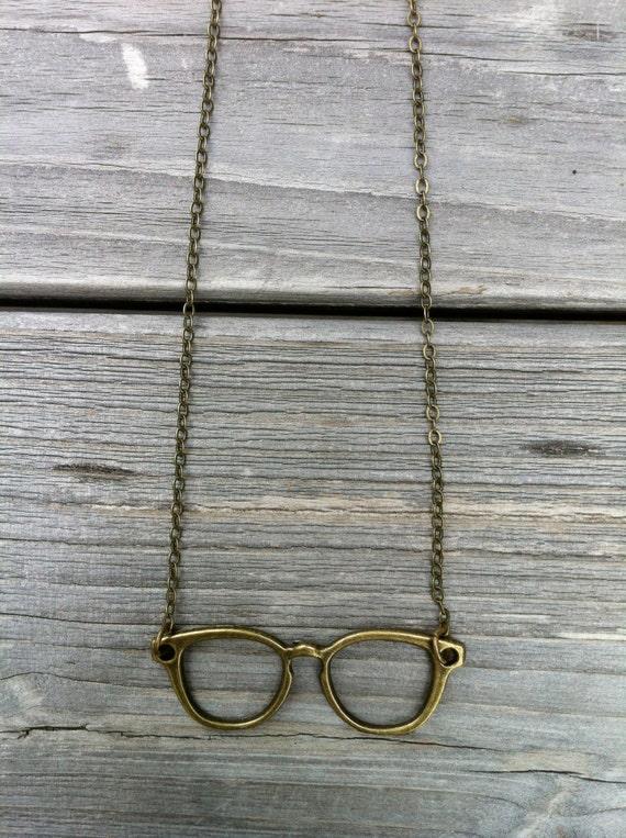 Brass Glasses Necklace