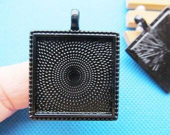 Black Square Base Setting Bezel Tray Bezel Pendant Charm/Finding,fit 25mmCabochon/Cameo,DIY Accessory Jewellry Jewellry Making