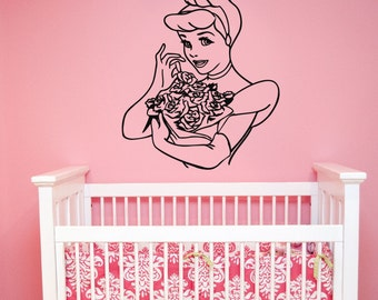 Cinderella Wall Decal Vinyl Sticker Disney Princess Art Decorations for Home Housewares Bedroom Teen Kids Girls Room Cartoon Decor cind1