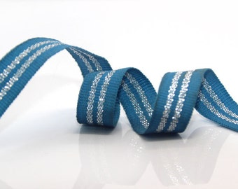 6 YARDS Striped Gross Grain Trim Ribbon in Blue and Silver Shimmer