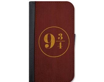 9 3/4 House colors Harry Potter Wallet Case For iPhone 5/5s, 5c, 6/6s, 6/6s Plus, 7, 7 Plus, 8 or 8 Plus.
