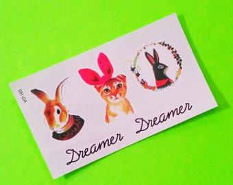 Dreamer Sweet Animal Contemporary Rabbit Bunny Kitten Cat Adorable Multi Sheet Colour Temporary Tattoo