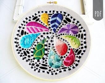 PDF Embroidery Pattern Zentangle Splash