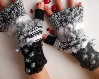 Women Size M 20% OFF Ready To Ship OOAK Accessories Fingerless Mittens Arm Warm Gloves Wrist Warmers Hand Knitted Winter Cabled Striped 775