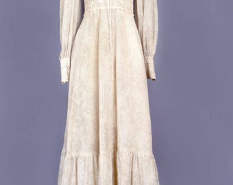 1970's Vintage Gunne Sax Beige Long Maxi Dress, Praire dress, Hippie, Boho, Jessica McClintock Black Label, Festival Dress- SIZE: 6 - Medium