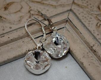 Boucles d'oreilles mariage, boucles d'oreilles de coussin carré cristal Swarovski, boucles d'oreilles goutte de cristal, boucles d'oreilles cristal nuptiale, argent Sterling, bijoux de mariée
