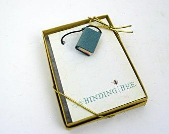 Soft Blue Mini Book Necklace