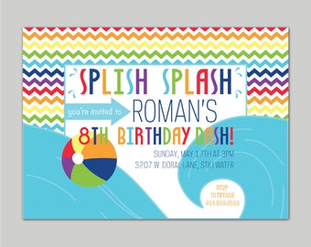 PRINTABLE SPLISH SPLASH Pool Party Invitations