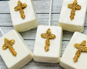 12 pieces Chocolate Covered-Rice Crispy Treats-Gold Cross Decorated-Wedding-Baptism-Christening
