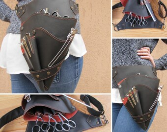 Stylist leather holster, Stylist leather hip bag, Shears hip bag, Stylist  hip bag, Stylist leather bag, Barber holster,  Barber hip bag