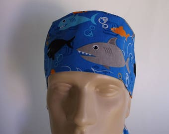 Ocean Sharks -  Men's Surgical Scrub Hat  with sweatband option, scrub cap, bakers hat,40-4550