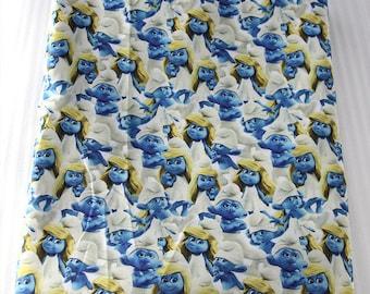 """Smurfs"""" printed theme fabric"""
