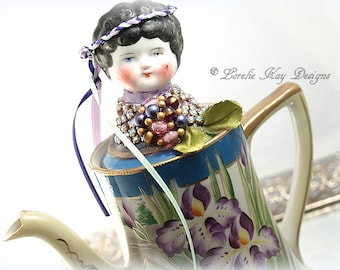 Iris Teapot Art Doll Handpainted Nippon Porcelain Assemblage Art Doll One-of-a-Kind Lorelie Kay Original