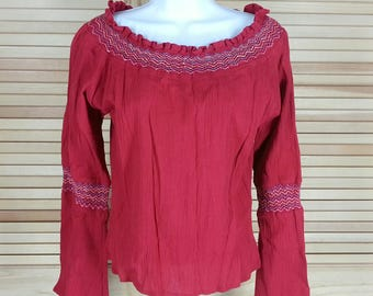Vintage 70s red boho top blouse krinkle fabric trumpet flared sleeves size S small chest 36 Funky People