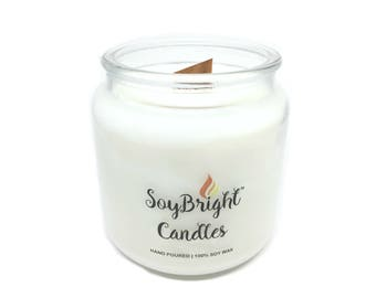 SoyBright™ Frosted Birch Juniper Natural Soy Wax Apothecary Jar Candle | Wooden Wick | Scented | Hand Poured | More Scents Available - 16 oz