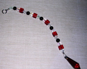 Ruby Red/Black Crystal Suncatcher