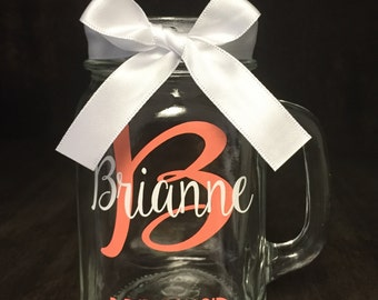 Bridesmaid Mason Jars, Wedding Mason Jars, Personalized Mason Jars, Bride and Groom Mason Jars