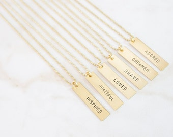 Bar Charm Brass Necklace Hand Stamped