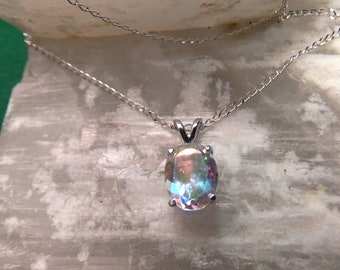 "10x8mm Tropic Topaz & Sterling Silver 18"" Necklace"
