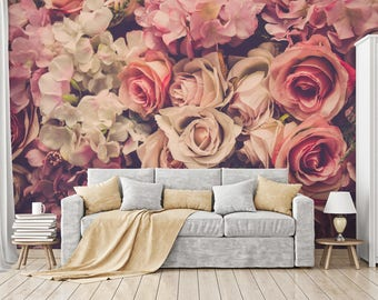 Pink Roses - Mural - Blown Up - Adhesive Wallpaper - Removable Wallpaper - Wall Sticker - Wall Mural - Customizable Wallpaper