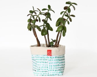 Fabric Bucket - Painted Spots Green (multiple sizes avail.)