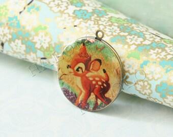 1pc handmade cute deer round antique brass locket 32mm (LD056)