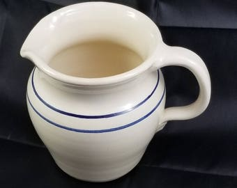 Cream Pitcher Glazed Handcrafted Pottery, Ellis Production Pottery Marshall Texas, Vintage 1990s, Ivory Pottery Pitcher with Blue Stripes