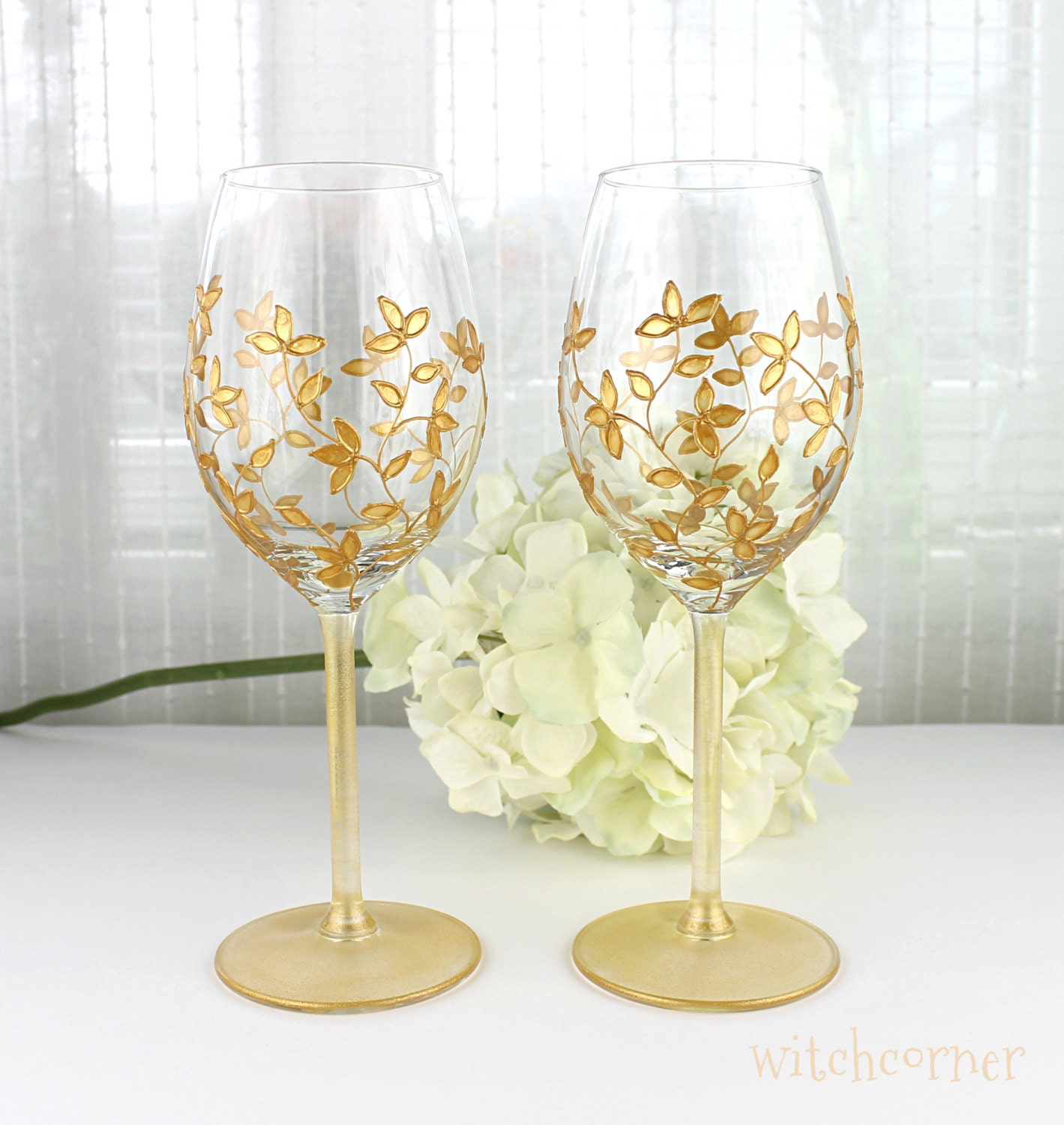 These Delicately Painted Wine Glasses Make A Fabulous Gift For Weddings