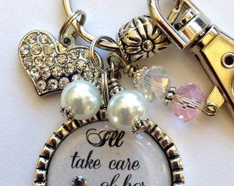 Mother of the Groom Gift, I'll take care of her always necklace, wedding gift mother in law beautiful quote