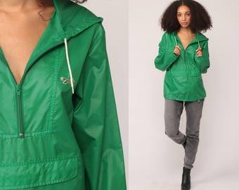 Hooded Windbreaker Jacket 80s Nylon Jacket Pullover Hoodie JC Penney FOX Green Shell Hipster Coat Vintage 1980s Hood Light Small