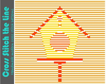 Cute contemporary cross stitch pattern. Modern embroidery chart. Minimalist design in bright, warm colours. 'Sunny birdhouse'