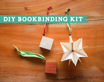 DIY Bookbinding Kit: Christmas tree star ornament book (includes video tutorial)