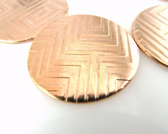 "Copper Discs, Enameling Discs, Textured Copper Discs, 1"" (25mm)  Premium Discs, Tribal Discs, JAE-05"
