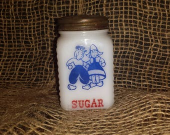 Hazel Atlas Dutch Boy and Girl Sugar Shaker 1950's Powdered Sugar Kitchen Strorage